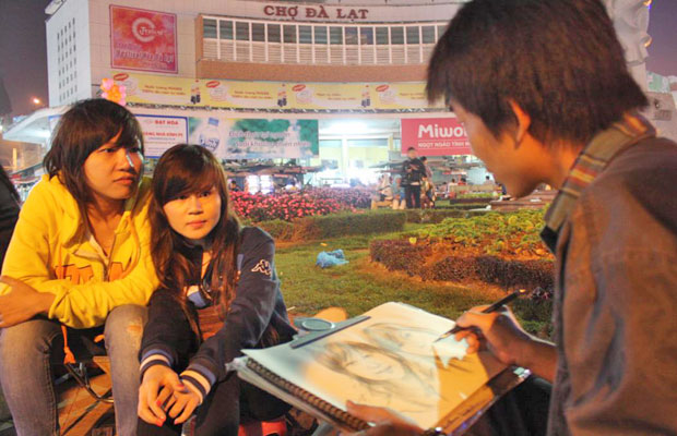 portrait picture painting at dalat night